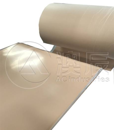 Fabric Surface Hypalon Rubber Sheet Flooring, NBR, Tan Pure